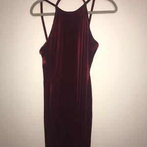 Calf length dress. Velvet
